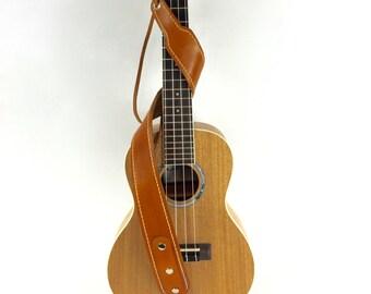 Leather Ukulele Strap / handmade / lined / Mandolin Strap / Adjustable / Musician gift