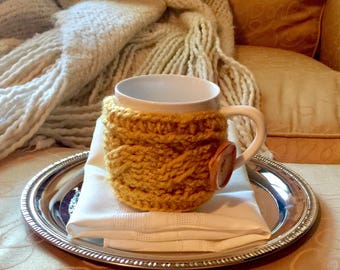 Coffee cup cozy, Crochet coffee and tea mug cozy
