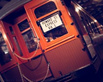 Vintage Chicago Train Art   Color Photography   Howard St Express   orange, brown, earth tones   CTA train   Chicago transit art   playroom
