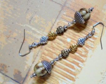 Brown, Silver, Gold and Brass Acorn and Leaf Earrings (4028)