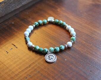 Green bracelet. Earth heart
