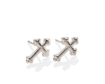 Silver Cross Earrings 925 Sterling Silver , Confirmation First Communion or Baptism Gift for Girls