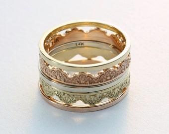 Five Stacking Rings, Gold Stacking Rings, Stacking Ring Set, Personalized Stacking Rings, Gold Stackable Rings, Rose Gold Rings, Lace Rings