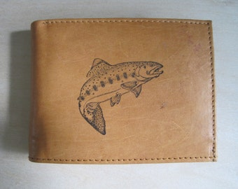 """Mankind Wallets Men's Leather RFID Blocking Billfold w/ """"Large Trout"""" Image~Makes a Great Gift!"""