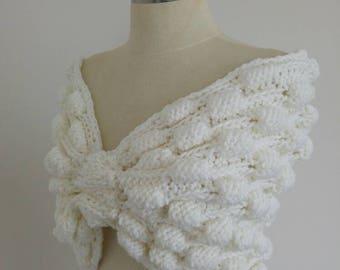 Dreamy Bridal Ivory cape Handmade Knitting Undecorated, knitting wedding  bolero, Soft Cunky Cape Knitting wedding shawl wedding accessories