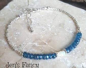 Neon Blue Apatite Gemstone Bracelet Ethiopian Opal, Gemstone Jewelry Jewellery, Minimalist Bracelet, Layering Braclet, Mom Gift for Her