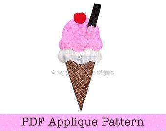 Ice Cream Template. Ice Cream Applique. Icecream Cone PDF Template. DIY. PDF Pattern by Angel Lea Designs
