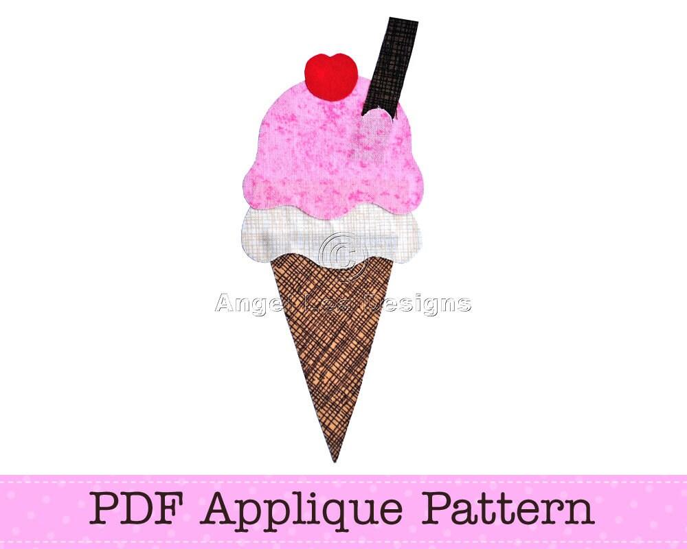 Ice Cream Template. Ice Cream Applique. Icecream Cone PDF