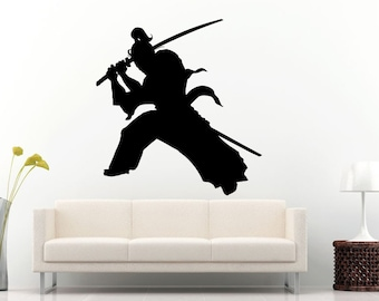 Samurai Ancient History Japanese Warrior With A Sword Wall Decal Vinyl Sticker Mural Room Decor L623