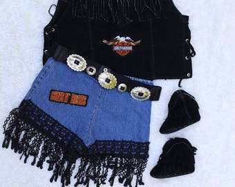 Boho Rock fringed denim shorts, 4T