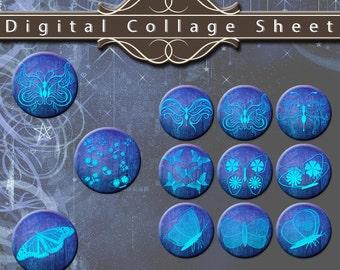 """Mystical Butterflies 1.25"""" Circles Digital Collage Sheet"""