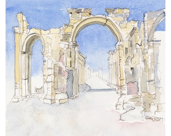 Palmyra MOUNTED Giclee Print from mixed media
