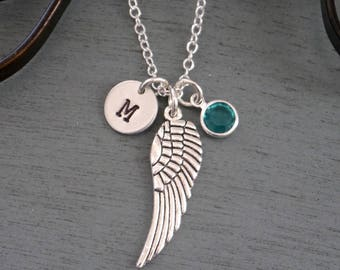 Angel Wing Initial Necklace, Personalized Angel Wing Necklace, Memorial Necklace, Remembrance Necklace, Silver Wing Necklace, Custom