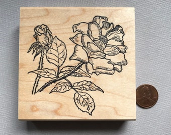 Rose Flower Rubber Stamp