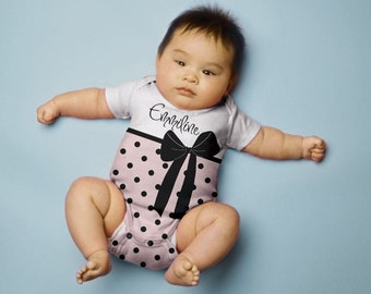 Personalized Baby Girl Shirt, Pink Polka Dot Bow Snapsuit Outfit