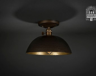 Flush Ceiling Mount | Edison Bulb Light Fixture | Oil Rubbed Bronze | Semi Flush | Small Hammered Shade