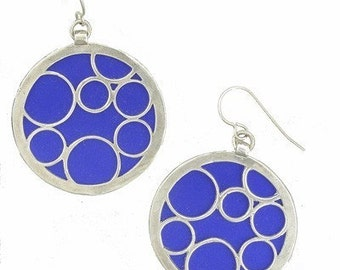 large blue round bubble earrings