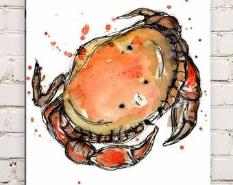 Wood Mounted Crab Print