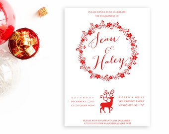 Engagement Party Invitation, Christmas Engagement Party Invitation, Engagement Invitations,  Printable Invitations, Engagement Party [288]