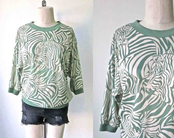 Vintage 1980's slouchy top GREEN ZEBRAS print- M