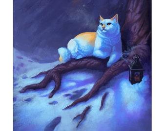 Stray - Art Print - Cat Feline Night Snow Naudiz Rune Poem