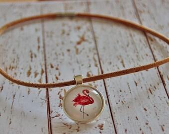 Necklace made of cork and glass vegan flamingo