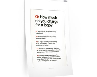How Much For A Logo? - Design poster for logo designers on White paper
