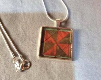 North Carolina Barn Quilt Necklace/Pendant