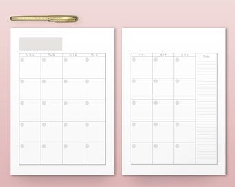 Empty Calendar, Printable Monthly Planner Inserts, A4, A5, Letter, Modern Organizer, Monthly Planner, Printable Calendar, Wall Calendar