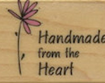 "Rubber stamp, Handmade from the heart, 1"" Hero Arts Little Greetings, 1"" Rubber Stamp (Not shown actual size)"