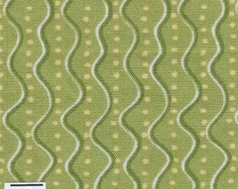 Cotton fabric green wavy stripes and polka dots by 10 cm