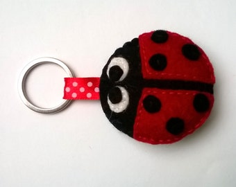 Felt ladybug keychain ladybird wool accessories eco friendly gift for her key holder animals party supplies for kids