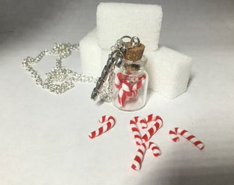 Glass vial necklace sugar barley polymer clay