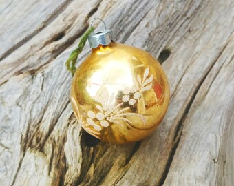 Antique Glass Christmas Ornament - Gold