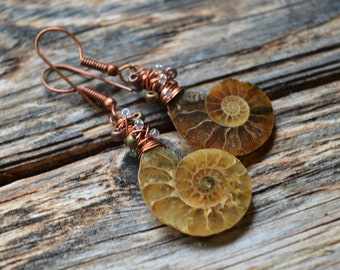 Ammonite Fossil and Miyuki Tornado Beads ,Geek Handmade Earrings,Fossil Earrings,Fossil Jewellery,Amonite Jewellery