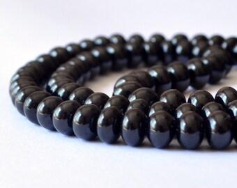 Smooth Black Spinel Rondelles, Plain Gemstone Beads, Large, Genuine Gem Stone, 6mm - 6.5mm, Set of 10