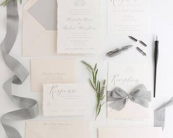 Silver Foil Duogram Deckled Wedding Invitation