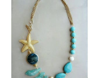 Turquoise necklace, chunky necklace for women, starfish necklace, birthday gift for girlfriend, summer jewelry, mermaid necklace, statement