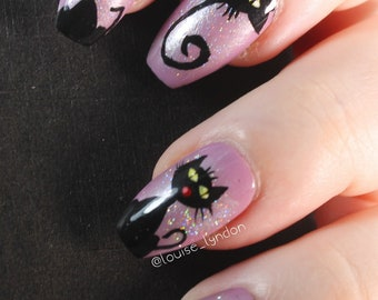 10 Black Cat Nails, Press On Nails, Glue on Nails, Full Coverage Nails