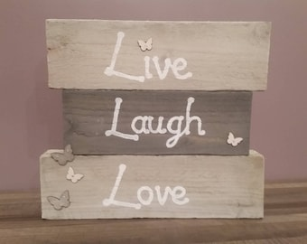 Live, laugh, love timber art