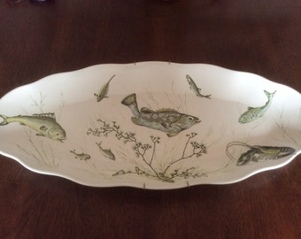 Vintage Waverly Melamine Fish Platter Large