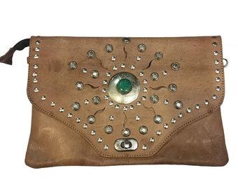 Wallet Leather light brown studs, handbag boho woman