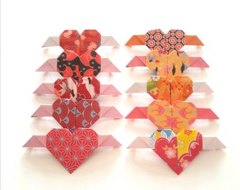 10 little Japanese paper origami kokolo winged hearts, handmade table decorations, cards...