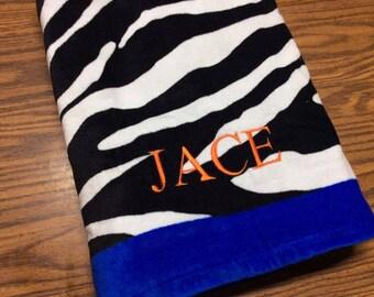 Zebra Monogrammed Towel, Zebra Personalized Towel, Zebra Print, Zebra Decor, Monogrammed Beach Towel, Personalized Gift, Birthday Gift