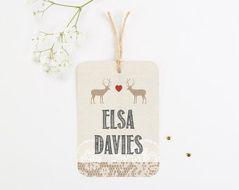 Lace Stag Luggage Tag Wedding Place Card