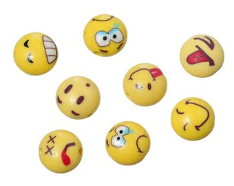 Polymer Clay Beads Round Yellow Emoji Face Pattern At Random About 12mm - you get 30