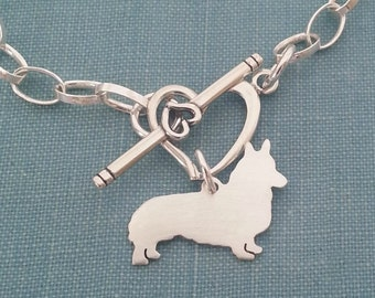 Pembroke Welsh Corgi Dog Chain Bracelet, Sterling Silver Personalize Pendant, Breed Silhouette Charm, Rescue Shelter, Mothers Day Gift