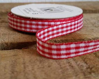 1 meter red gingham Ribbon 6 mm polyester Plaid