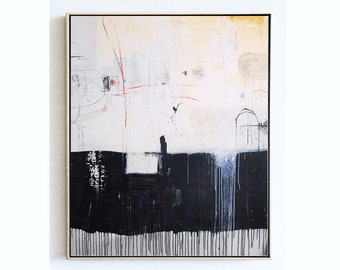 """60""""x50""""abstract painting  black/creme original painting by jolina anthony"""