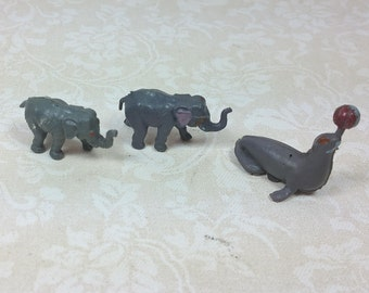 MINIATURE CIRCUS ANIMALS, Two Elephants & Performing Seal, Plastic, 1970's, Made in Hong Kong, Vintage Little Exotic Critters